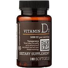 Amazon Elements Vitamin D3, 5000 IU, 180 Softgels, 6 month supply