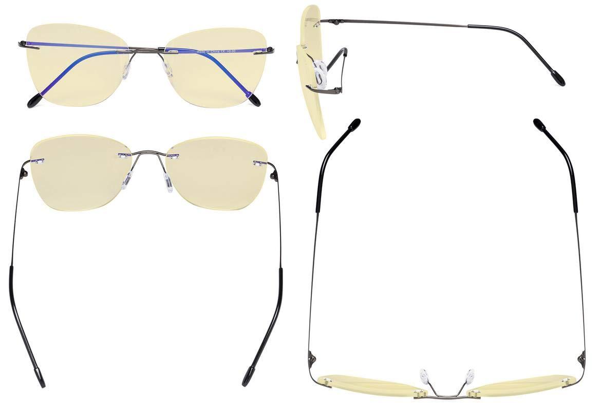 1.25 Eyekepper Computer Occhiali da lettura da Donne Anti Luce Blu-Le signore Senza Montatura Grande Occhi di gatto Lettori con lente filtro gialla,Oro