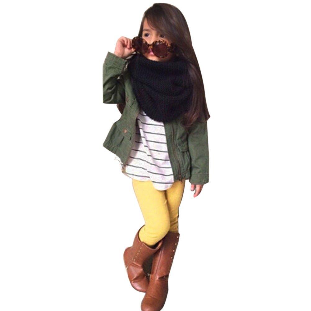 amazingdeal Kids Girls Clothes Long Sleeve Stripe Top + Coat + Trousers Pants(110)