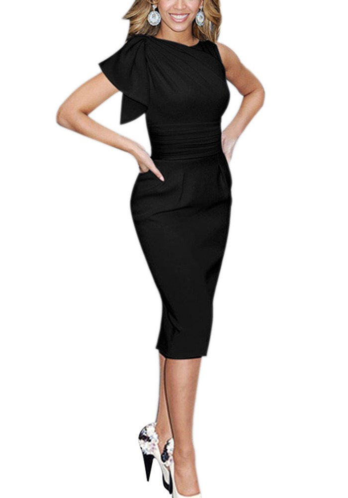 Colyanda Women's Sleeveless Wear to Work Business Cocktail Party Sheath Dress(Black M)