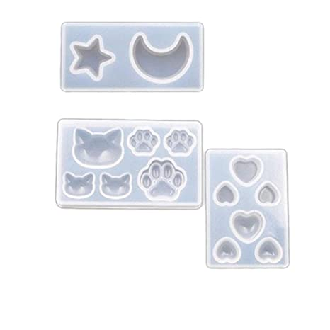TOOGOO Cat Bear Heart Moon Star Silicone Mold Resin Silicone Mould Handmade DIY Jewelry Making Epoxy Resin Molds