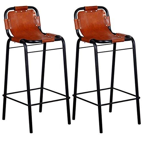 Wrea Bar Stools 2 pcs Genuine Leather 18.1