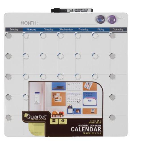 Quartet Magnetic Dry-Erase Calendar Tile, 14 x 14 Inches, 1-Month Design, Frameless, White (48114-WT) ()