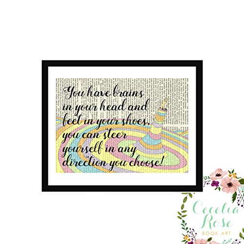 Child Framed Art - You have brains in your head and feet in your shoes, you can steer yourself in any direction you choose! Dr Seuss Oh The Places You'll Go Children's Nursery Farmhouse Book Art 9x11 Box Framed Print