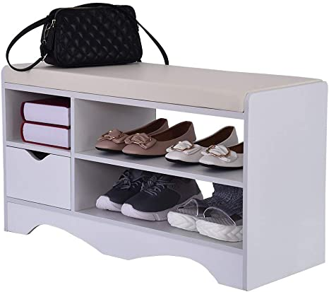 2 Tier Shoe Cabinet Storage Bench Padded Stool Seat Organiser Shelves Stand Rack