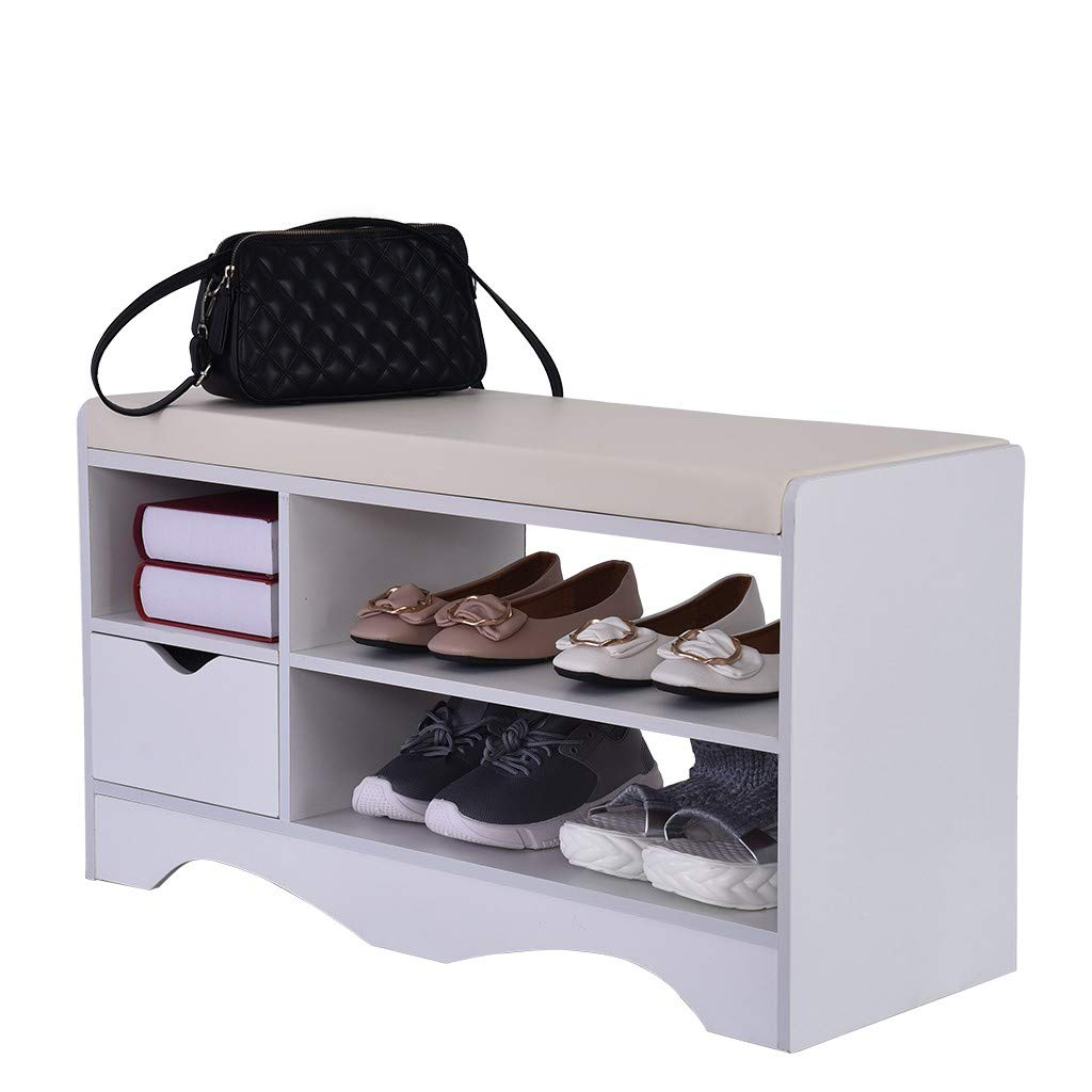 QIANSKY 2 Tier Storage Shoe Cabinet - Simple Modern Entryway Shoe Bench Rack - Padded Shoe Bench Origanizer with Cushion Seat Storage Stool Home Decor for Bathroom Living Room and Corridor by QIANSKY