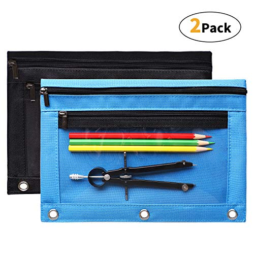 3 Ring Pencil Pouch - 3 Ring Pencil Pouch with Sturdy Zipper, Double Pockets Clear Window Binder Pencil Pouches Fit Standard 3-Ring Binder, Blue & Black (2 Pack)