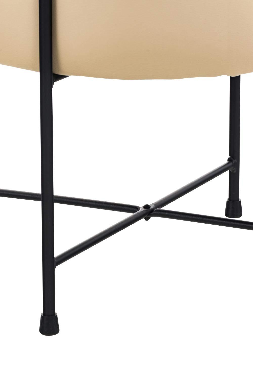 Altezza 40 cm Arancione Pouf Poggiapiedi da Divano in Similpelle e Metallo Facile da Pulire CLP Sgabello Puff Tondo Soggiorno Marseille