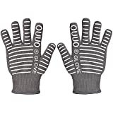 OUUO 932°F Extreme Heat Resistant Kitchen BBQ Gloves Oven Mitts With Fingers For Cooking Grilling or Baking EN407 Certified(One Size Fits Most, Grey)