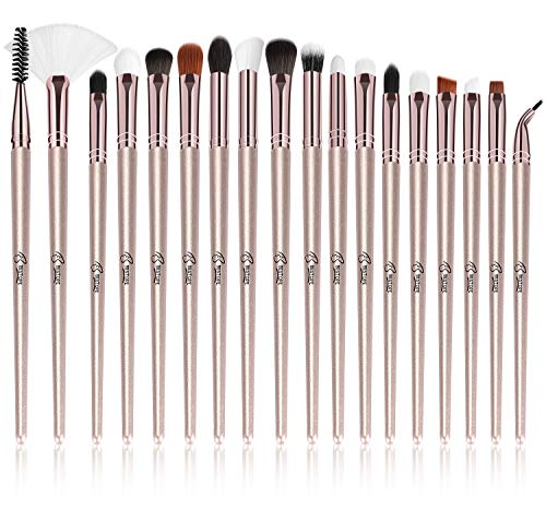 - BESTOPE Eye Makeup Brushes Set, 18 Pieces Professional Cosmetic Brushes Includes Eye Shadow Eyebrow Eyelash Eye Liners Fan Brushes, with Champagne Gold Tapered Handles for Women Girls