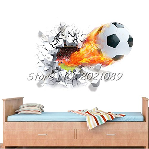 Copter Shop 2016 New Novelty Football Wall Sticker break out 3D Decal House Decor Sport Soccer Boy Kids Room Bedroom Art Mural - Football Backplate America