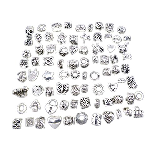 Mix Antique Silver Plated Oxidized Metal Beads Charms Set Mix Lot - Compatible with Pandora Biagi Troll Chamilia Bracelets w/ Blue Organza Pouch ()
