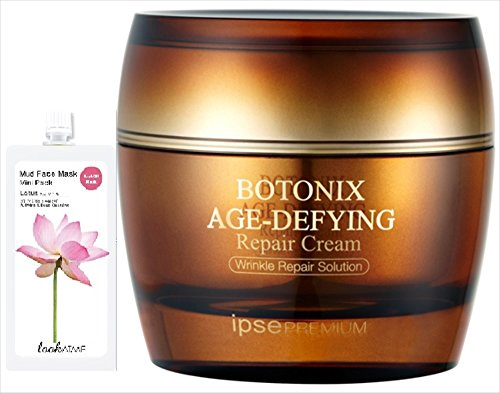 Korean Natural BOTONIX Age Defying Cream 24K Gold and 8 Peptides  Effect Lifting and Firming Skin Regenerating Collagen - 50 ml/1.7 oz. Bundle with 1 Mud Mask - 30 gm Randomly Picked Flavor