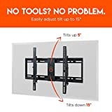 ECHOGEAR Tilting Low Profile TV Wall Mount Bracket for 32-70 TVs - Up to 15 Degrees of Tilt for LED, LCD, OLED and Plasma Flat Screen TVs with VESA patterns up to 600 x 400 - EGLT1-BK