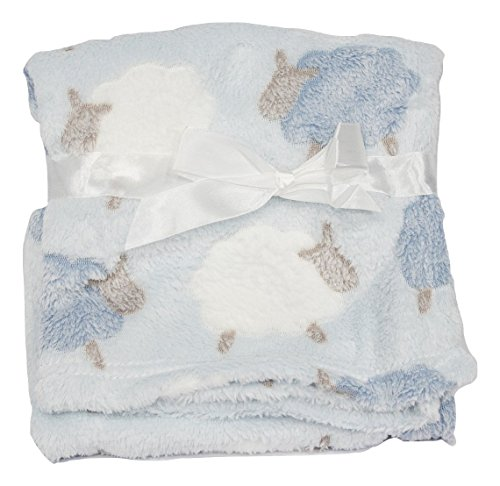 Light & Cozy Plush Blanket For Baby Boys and Baby Girls (Blue Lamb)