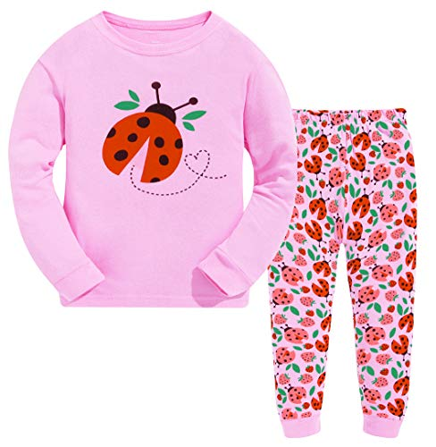 Girls Christmas Pyjamas Set Cute Kids Long Sleeve Cotton Ladybug Pjs Sleepwear Tops Shirts & Pants Nightwear Children