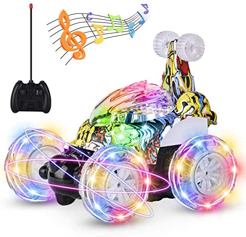 UTTORA Remote Control Car, RC Stunt Car Invincible Tornado Twister Remote Control Rechargeable Vehicle with Colorful Lights & Music Switch for Kids (Camouflage)