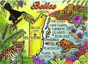 Belize Map Caribbean Fridge Collectors Souvenir Magnet 2.5 X 3.5 World By Shotglass//Copyrighted Design by ©agiftcorp belizemgnt