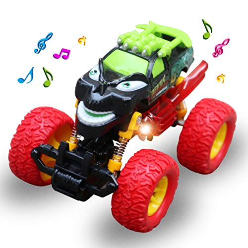 FBGO Toy Cars Monster Truck Toys, Pullback & Inertia Friction Powered Play Vehicles Sound and Light, Best Toy for Boy and Girl (Sound Monster Truck)