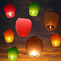 Sky Lanterns Hot Air Balloon Multicolor Paper(Pack of 5)