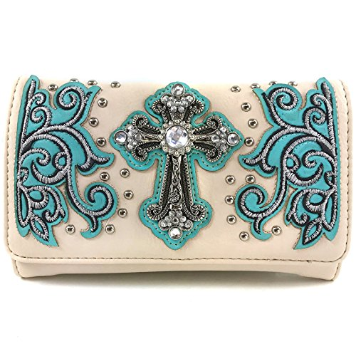 Justin West Western Floral Wing Embroidery Laser Cut Rhinestone Silver Cross Studded Shoulder Tote Handbag Purse Wallet (Aqua Creme Wallet)