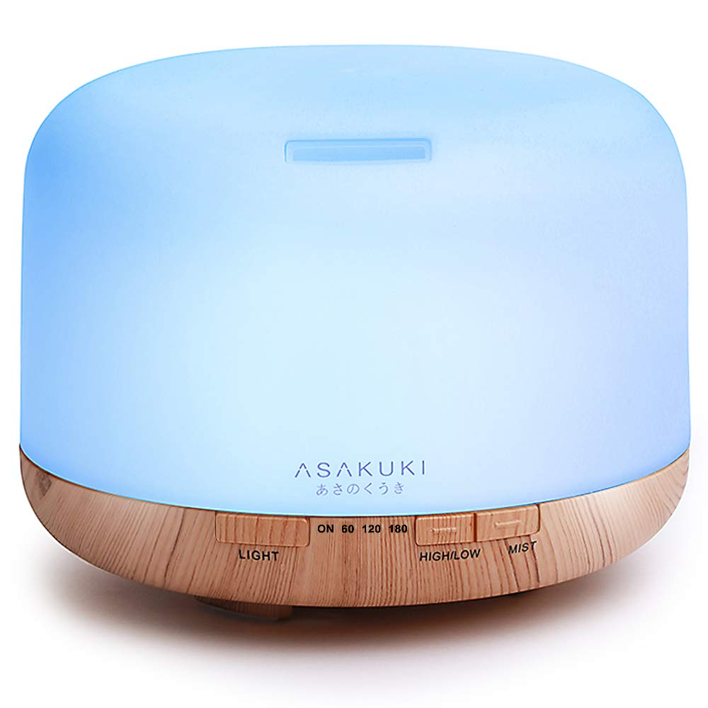 ASAKUKI 500ml Premium, Essential Oil Diffuser, 5 In 1 Ultrasonic Aromatherapy Fragrant Oil Vaporizer Humidifier, Timer and Auto-Off Safety Switch, 7 LED Light Colors ASKDF0110