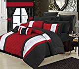 Perfect Home 24 Piece Aura Complete Pintuck Embroidery color block bedding, sheets, window panel collection King Bed In a Bag Comforter Set Red, Sheets Included