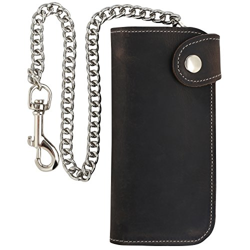 Men's Bifold Vintage Long Style Cow Top Grain Leather Steel Chain Wallet,Made In USA,Snap closure,Antique crazy horse brown,dc473