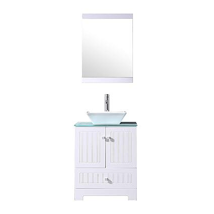 Sliverylake 24 Bathroom Vanity Ceramic Vessel Sink Combo PVC Cabinet Blue Countertop Sink Bowl W Mirror Set White Trapeziform