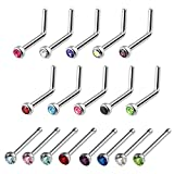 BodyJ4You 18PCS Nose Rings 18G Bone Pin L-Shaped Stud Nostril Crystals Surgical Steel Piercing Jewelry