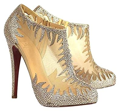 172bd2d22c7 Christian Louboutin Sheer Mesh Crystal Strass Marale 140 Mm Ankle ...