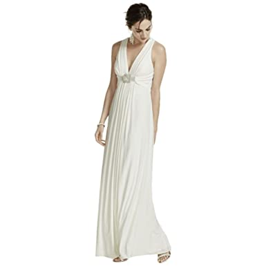 Amazon.com: Long Jersey Wedding Dress with Beaded Knot Detail Style ...