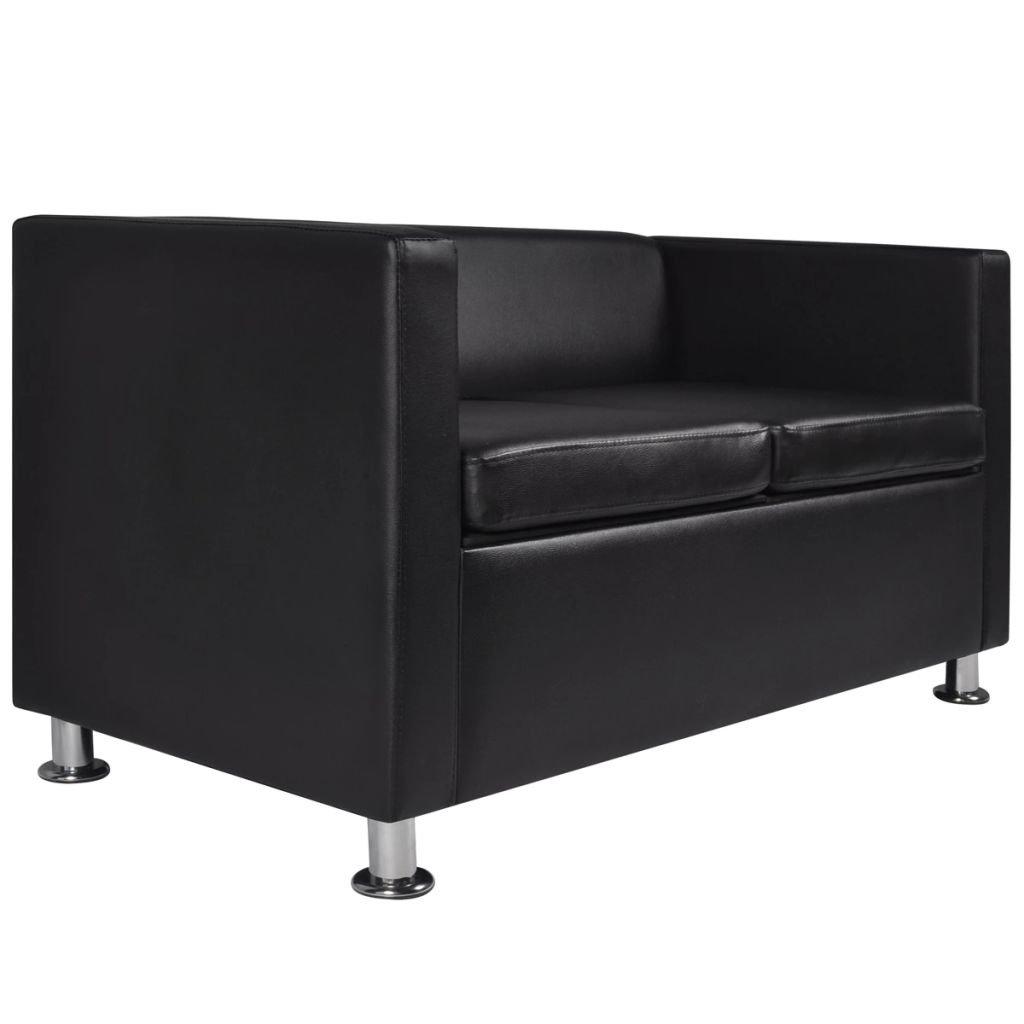 Furnituredeals Sofa de tela Set de tres sofas negros de 2 ...