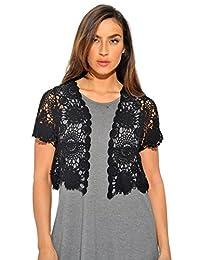 401147-Blk-XL Just Love Bolero Shrug / Women Cardigan,Black Floral Crochet,X-Large