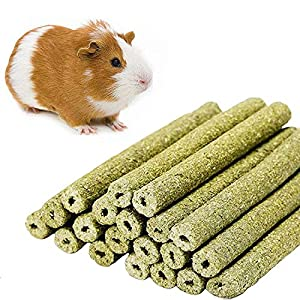 William Craft Timothy Hay Sticks for Guinea Pig Chinchillas Pet Snacks Chew Treats for Rabbit Hamsters Squirrel and Other Small Animals 20 Sticks