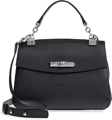 LongChamp Women's Madeleine Black Pebbled Leather Satchel Handbag