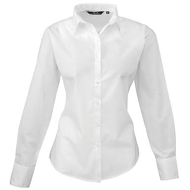 f8e6f2379 Premier Workwear PR300 Womens Business Hospitality Barwear Long Sleeve  Poplin Shirt White 14: Amazon.co.uk: Clothing