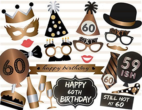 Losuya 60th Birthday Photo Booth Props 23pcs Funny Photobooth Prop for Unisex 60th Birthday Party Favors Dress up -