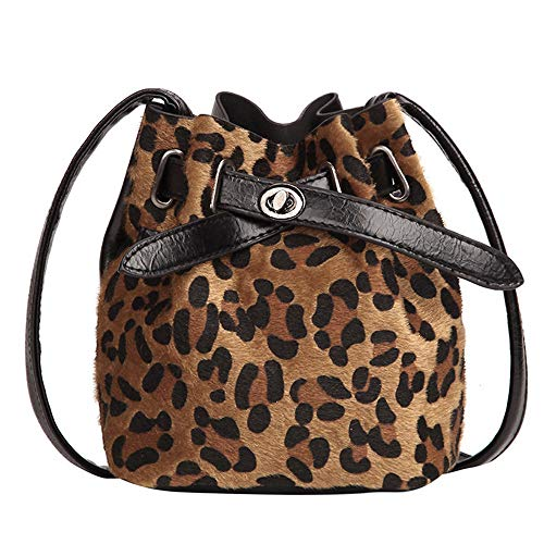 AgrinTol Women Plush Leopard Print Shoulder Bag Messenger Crossbody Bag Bucket Bag