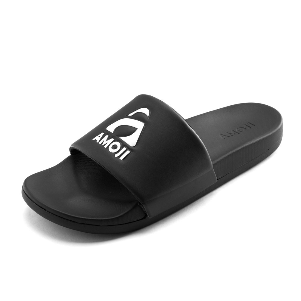 Amoji Slides Athletic Sandals Slippers Shower Shoes Sport Indoor Outdoor Home House Room Beach Outside Lightweight Ladies Men Women Adult Boy Girls(10-11US Women/8.5-9.5US Men, Black)