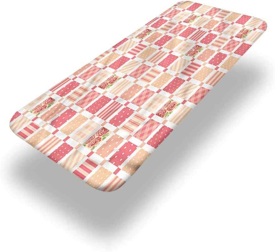LCGGDB Dusty Rose Polyester Picnic Table Fitted Tablecloth Cover,Patchwork Style Squares Elastic Edged Fitted Table Cloth,24in x 48in (4ft),for Camping, Dining, Outdoor, Park, Patio