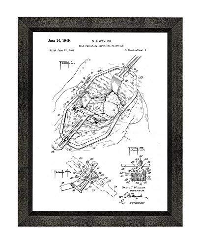 Self Retractors Retaining (Self-retaining Abdominal Retractor Patent Art White Matte Print in a Beveled Black Wood Frame (16