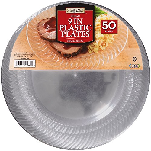 """Daily Chef Clear 9"""" Plastic Plates (50 ct.)"""