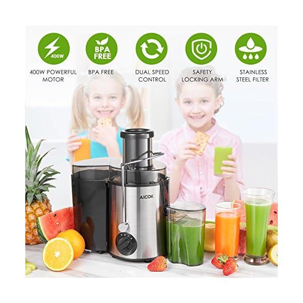 Aicok Centrifuga Frutta e Verdura 3 Velocità Estrattore di Succo a Freddo con 65MM Bocca Larga, Piedi Anti-scivolosi e… 7