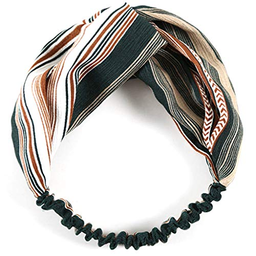 Peach & Pepper 2 Pack Women Striped Pattern Headband Cross Head Wrap Hair Band -