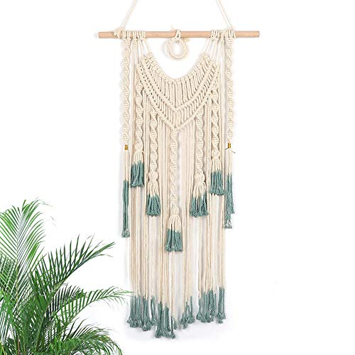 """LAVAY Macrame Wall Hanging Green and Beige Woven Tapestry Boho Chic Tassels Pendant Hippie Bohemian Wall Art Bedroom Living Room Dorm Backdrop Home Decorations, 33""""x 18"""" (No.2)"""