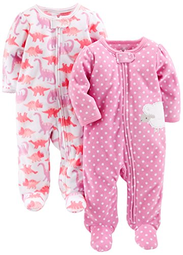 Simple Joys by Carter's Baby Girls' 2-Pack Fleece Footed Sleep and Play, Dino/Lambs, Newborn