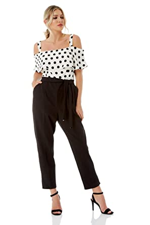 61aea3c8dba9 Roman Originals Women Polka Dot Print Cold Shoulder Bardot Party Jumpsuit -  Ladies Fashion Trouser Jumpsuits for Going Out Special Occasions Parties ...