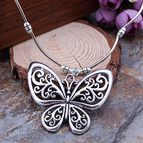 THTHT Vintage Ethnic Silver Jewelry Carved Hollow Butterfly Pendants Necklaces Sweater Chain for Women Jewelry ()