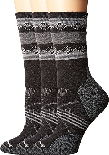 Smartwool Women's PhD Outdoor Medium Pattern Crew 3-Pair Pack Charcoal 1 Socks LG (Women's Shoe 10-12.5)